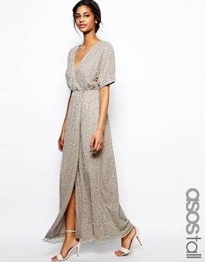 6823d77c487a Vestito lungo con paillettes argento di Asos, €136   Asos   Lookastic