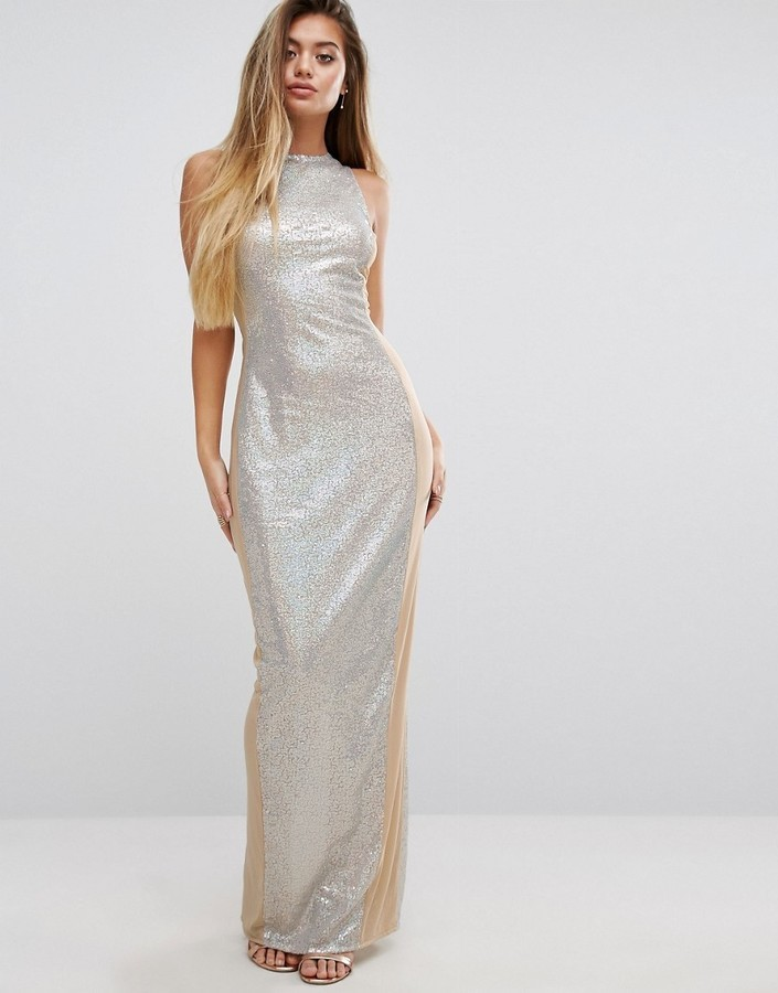 online store ebb6b e6879 Vestito lungo con paillettes argento di PrettyLittleThing