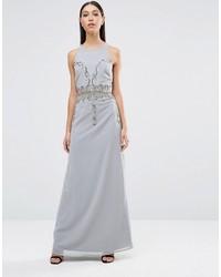 ... Vestito lungo con paillettes decorato grigio di Maya 60608a634fd