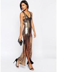 Vestito lungo con paillettes dorato di Vila bfd0697f076
