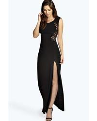 Vestito lungo con spacco nero
