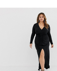 Vestito lungo con spacco nero di Club L London Plus