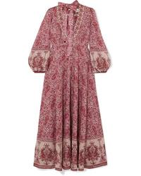 Vestito lungo con stampa cachemire bordeaux
