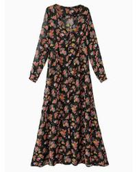 Vestito lungo di chiffon a fiori nero