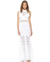Vestito lungo di pizzo bianco