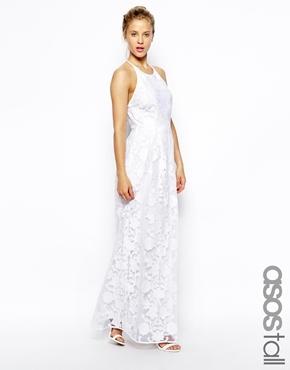 huge discount 77c26 0493d Vestito lungo di pizzo bianco di Asos