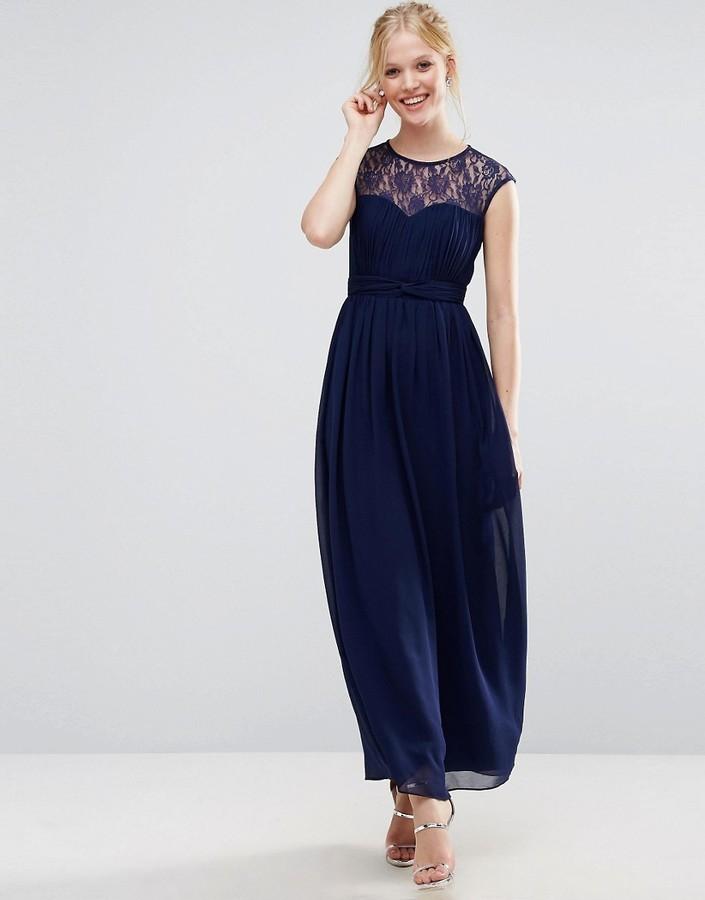 size 40 dc21c 79fae €54, Vestito lungo di pizzo blu scuro di Little Mistress