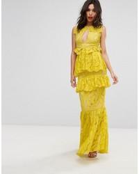 Vestito lungo di pizzo giallo