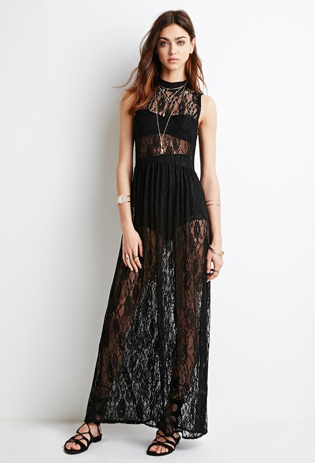 Vestito lungo in pizzo nero