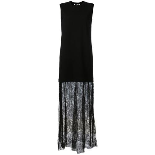 free shipping 0ff95 8217f €272, Vestito lungo di pizzo nero di McQ Alexander McQueen