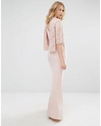 Vestito lungo di pizzo rosa di Mango