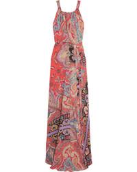 Vestito lungo di seta stampato rosso