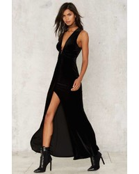 45681d64068b Vestiti lunghi di velluto con spacco neri da donna