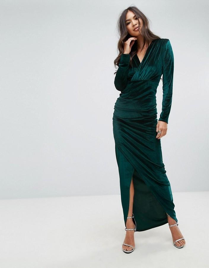 watch 37360 fbbec €51, Vestito lungo di velluto con spacco verde scuro