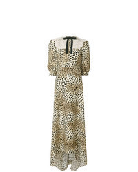 Vestito lungo leopardato marrone chiaro