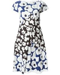 Vestito scampanato a fiori bianco e blu scuro di Jil Sander