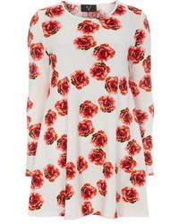Vestito scampanato a fiori bianco e rosso