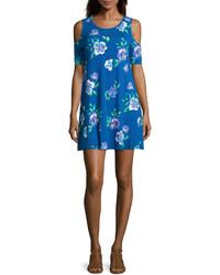Vestito scampanato a fiori blu