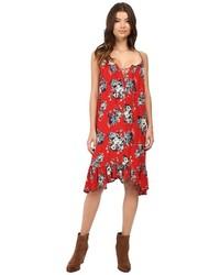 Vestito scampanato a fiori rosso