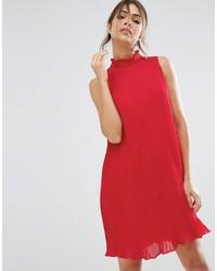 Vestito scampanato di chiffon rosso