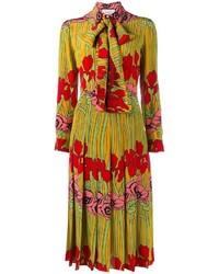 Vestito svasato a fiori giallo di Gucci