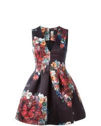 Vestito svasato a fiori nero di Philipp Plein
