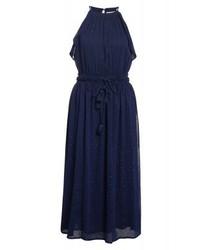 Vestito svasato a pois blu scuro di Michael Kors