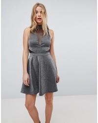 Vestito svasato argento di New Look