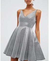 Vestito svasato argento di Asos