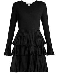 Vestito svasato con volant nero