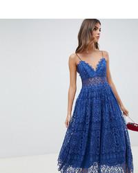 Vestito svasato di pizzo blu di ASOS DESIGN