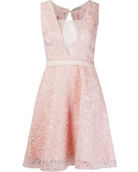 Vestito svasato di pizzo rosa