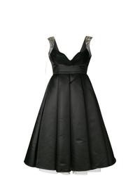 Vestito svasato di raso nero di Philipp Plein
