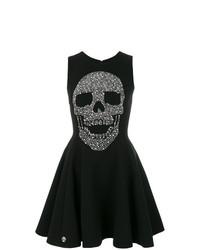 Vestito svasato stampato nero di Philipp Plein