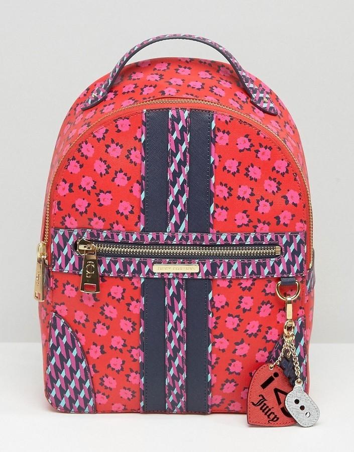 Zaino di tela a fiori rosso di Juicy Couture