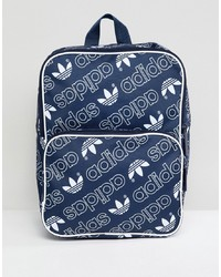Zaino di tela stampato blu scuro di adidas Originals
