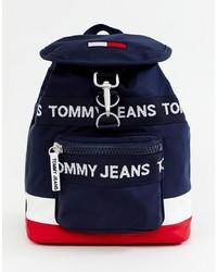 Zaino di tela stampato blu scuro di Tommy Jeans