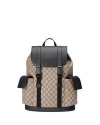 Zaino di tela stampato marrone chiaro di Gucci