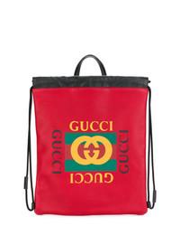 Zaino in pelle stampato rosso di Gucci
